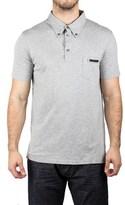 Prada Men's Jersey Sport Pima Cotton Slim Fit Pocket Polo Shirt Heather Gray.