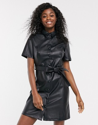 New Look belted leather mini look PU dress in black