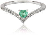 Forzieri V-Shaped Diamonds Band Ring with Enclosed Emerald Heart