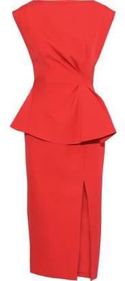 Rachel Gilbert Adelaide Ruffle-trimmed Ponte Peplum Midi Dress