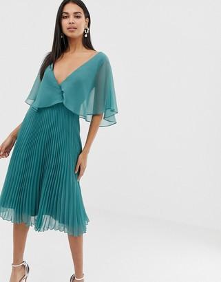 Asos DESIGN flutter sleeve midi dress with pleat skirt