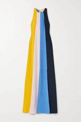 Lela Rose Striped Crepe Halterneck Gown - Blue