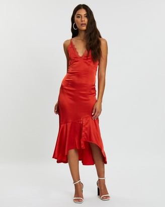 Missguided Satin Lace Detail High-Low Maxi Dress