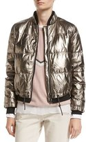 Brunello Cucinelli Metallic Leather Puffer Jacket
