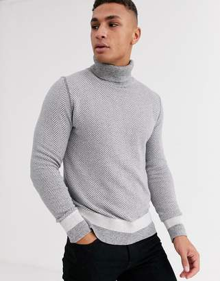 Tommy Hilfiger niels herringbone roll neck jumper-Grey