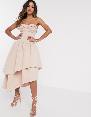 ASOS DESIGN bandeau cup detail midi prom dress with layered skirt in rose