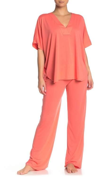 Natori N Short Sleeve Top & Lounge Pants Pajama 2-Piece Set