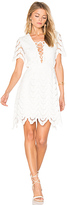 J.o.a. Lace Up Crochet Mini Dress in White. - size S (also in )