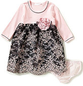 Bonnie Jean Bonnie Baby Baby Girls 12-24 Months Rib-Knit-Bodice Embroidered-Lace-Skirted Dress