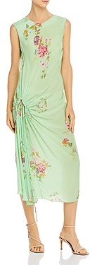 Preen Line Aida Shirred Floral Midi Dress