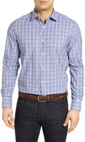 Robert Barakett Men's Regular Fit Dobby Check Sport Shirt