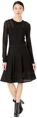 BCBGMAXAZRIA Day Short Sweaterdress (Black) Women's Dress