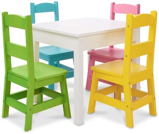 Melissa & Doug Kids Furniture Wooden Table and 4 Chairs - Pastel Colors