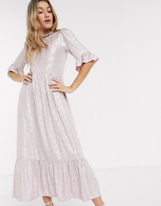 Asos Design DESIGN metallic smock dress-Pink