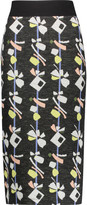 Suno Printed wool-blend midi skirt