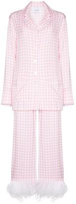 Sleeper Party feather-trim two-piece pyjamas