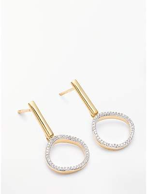 Modern Rarity Diamond Open Circle Drop Earrings, Gold