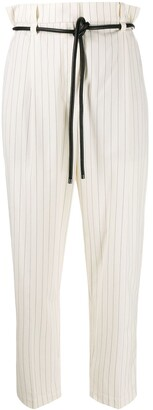 Brunello Cucinelli belted stripe trousers