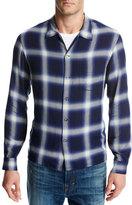 Vince Ombré; Plaid Open-Collar Shirt, Blue
