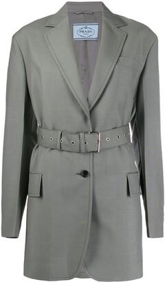 Prada Single Breasted Belted Jacket