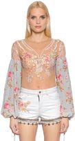 Amen Embellished Tulle & Chiffon Bodysuit