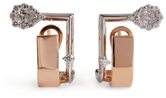 YEPREM Yellow Gold and Diamond Electrified Earrings
