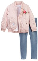 Hudson Embroidered Puffer Jacket, Shirt, & Jeans Set (Toddler Girls)