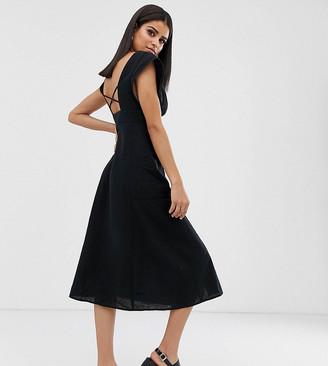 Asos Tall DESIGN Tall button through open back midi dress with pockets-Black