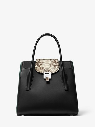 Michael Kors Bancroft Large Calf Leather and Snakeskin Satchel