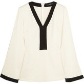 Etro Two-tone Stretch-crepe Top - Cream