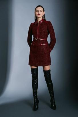 Karen Millen Sparkle Tweed Military Belted Dress