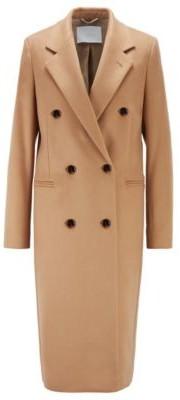 HUGO BOSS Long Line Coat In Virgin Wool With Fringe Detailing - Light Brown