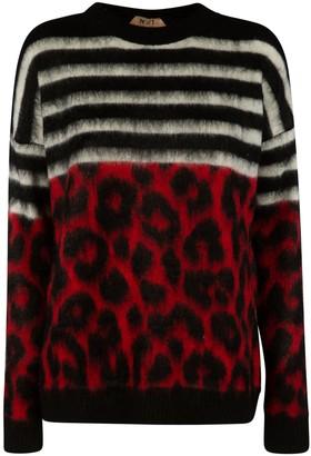 N°21 N.21 Stripe & Leopard Knit Jumper
