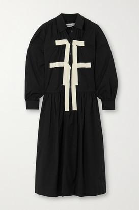 Molly Goddard Amber Grosgrain-trimmed Cotton-poplin Midi Dress - Black
