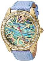 Betsey Johnson Women's Quartz Metal and Leather Casual Watch, Color:Blue (Model: BJ00048-201)