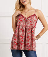 Suzanne Betro Women's Tunics 101RED - Red Paisley Lace-Trim Button-Front Peplum Camisole - Women & Plus