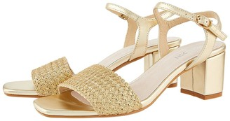 Monsoon Olive Occasion Block Heel Sandal - Gold