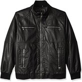 Calvin Klein Men's Big and Tall Faux Leather Bomber