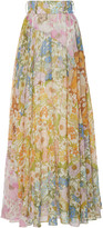 Zimmermann Pleated Floral-Print Cotton-Blend Maxi Skirt