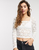 Pieces lace top with square neck in white