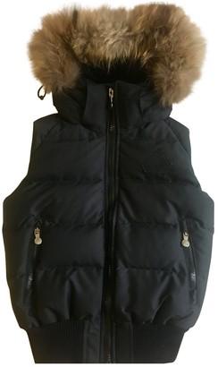 Pyrenex Black Fur Leather Jacket for Women