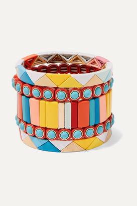 Roxanne Assoulin Cinque Terre Set Of Five Enamel Bracelets - Yellow