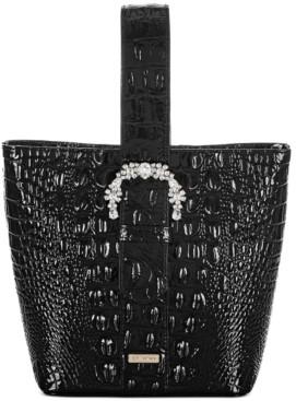 Brahmin Black Melbourne Embossed Leather Luxe Faith Bucket Bag