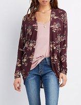 Charlotte Russe Crochet-Back Floral Knit Cardigan