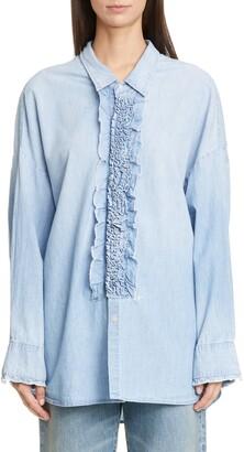 R 13 Oversized Denim Tuxedo Shirt