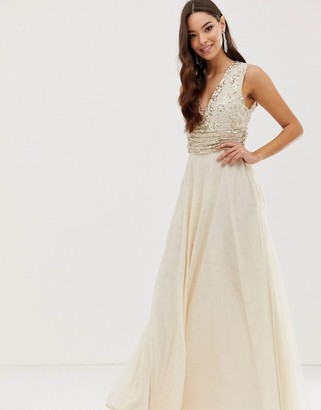 Asos Design DESIGN maxi dress with pearl and sequin embellished drape bodice-Gold