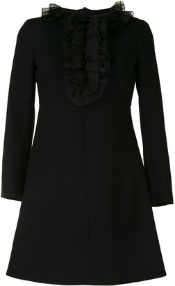 Yves Saint Laurent Pre Owned Ruffled Detail Long-Sleeves Dress