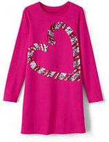 Lands' End Girls Embellished T-Shirt Dress-Purple Cascading Sequin