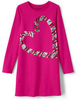 Lands' End Little Girls Embellished T-Shirt Dress-Sequin Polar Bear
