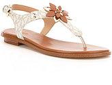 MICHAEL Michael Kors Heidi T-Strap Floral Ornament Thong Sandals